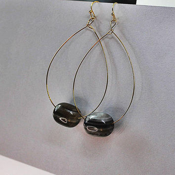 Thin Gold Hoops, Thin Hoop Earrings, Oversized Hoops, Large Hoops, Black Agate, Extra Long Earrings, Trend Earrings, Trendy Earrings