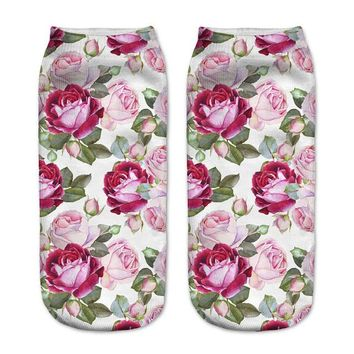 Tropical Roses Ankle Socks