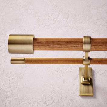 Mid-Century Wooden Double Rod - Wood/Brass