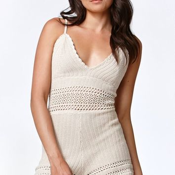 Kendall & Kylie Crochet V-Neck Romper - Womens Dress - Tan