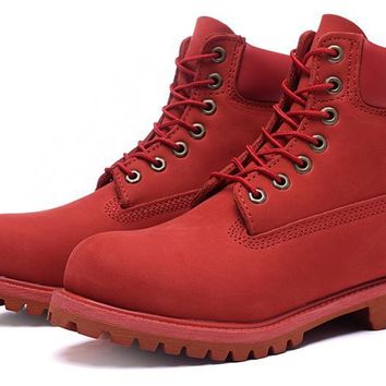 Timberland Rhubarb Boots 10061 High Tops Red For Women Men Shoes Waterproof Martin Boots