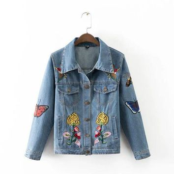 ONETOW Autumn Slim Butterfly Embroidery With Pocket Long Sleeve Denim Jacket [8542264391]