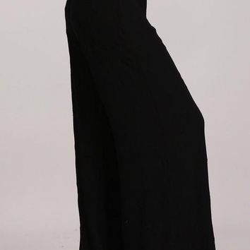 Chatoyant Embroidered Wide Leg Pants Black