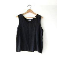 vintage black tank top / oversized boxy camisole / loose fit top / minimalist modern