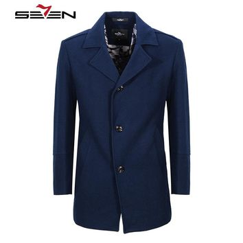 Men's Wool Coats Winter Long Trench Cashmere Jacket Slim Male Overcoat Royal Blue Woolen Coat