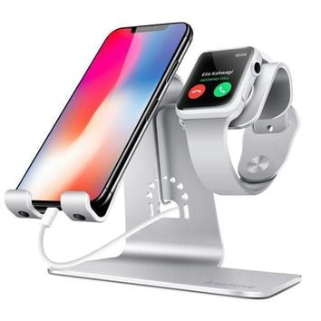 VONL8T Bestand 2 in 1 Apple iwatch Charging Stand Holder& Phone Desktop Tablet Dock for Apple Watch/ iPhone X/8Plus/8/7 Plus/ iPad(Upscale Silver)