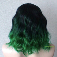 Black / Green Ombre wig. Black Green color Beach wavy hairstyle wig. Durable Heat resistant synthetic wig.