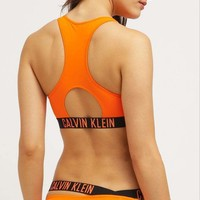 Calvin Klein Sexy Summer Beach Orange Bikini Vest Style Two Piece Bikini Swimsuit Bathing