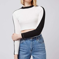 Colour Block Long Sleeve Top - Topshop