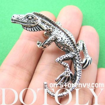 Iguana Chameleon Lizard Realistic Animal Wrap Ear Cuff in Silver