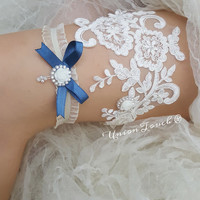 Light Blue Flower Pearl Beaded Lace Wedding Garter Set , Light Blue Lace Garter Set, Toss Garter , Keepsake Garter,Something Blue, Garter