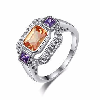 Brilliant Amazing Super Big Champagne Color Stone Ring Square Orange Crystal Ring Silver Color Cocktail Ring Women Jewelry