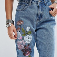 Glamorous Petite Boyfriend Jean With Painted Floral at asos.com