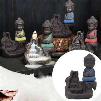 2017 Ceramic Little Monk Smoke Backflow Cone Censer Holder Incense Burner Decoration MAR20_17
