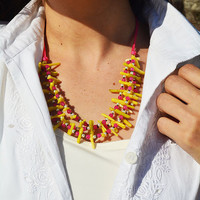 Multi strand red awn beads three line necklace, three line necklace, handmade istanbul grand bazaar model