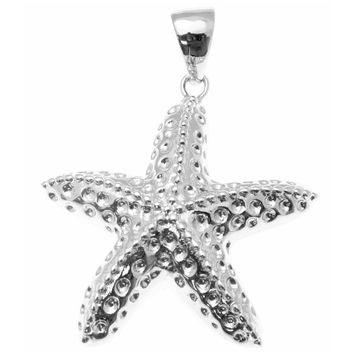 STERLING SILVER 925 RHODIUM HAWAIIAN SEA STARFISH CHARM PENDANT 15MM-26MM