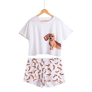 Women's Dachshund Dog Print Sets 2 Pieces Pajama Suits Crop Top + Shorts Stretchy Loose Tops Plus Size Elastic Waist S69305