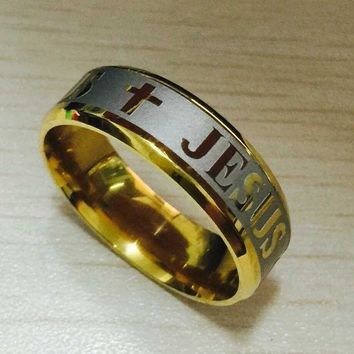 DCCKU62 High quality large size 8mm 316 Titanium Steel silver gold color jesus cross Letter bible wedding band ring men women