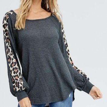 Bishop Sleeve Leopard Print Top - Charcoal