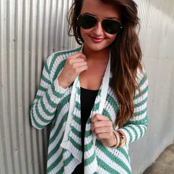 Green and White Striped Cardi