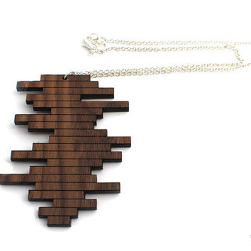 Staggered Block Necklace - Laser Cut Wooden Geometric Block Modern Necklace