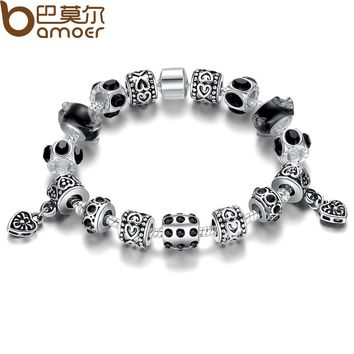 Russia Popular Strand Bracelet for Women With Black Murano Glass Beads Handmade Silver Color Unisex Jewelry PA1396