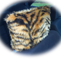 Gold tiger and black stripe animal print faux fur furry fluffy fuzzy car headrest covers 1 pair
