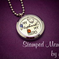 My Husband, My Hero - Stamped Memories Locket - Hand Stamped Stainless Steel Glass Necklace  - Army, Navy, Marine, Air Force Wife