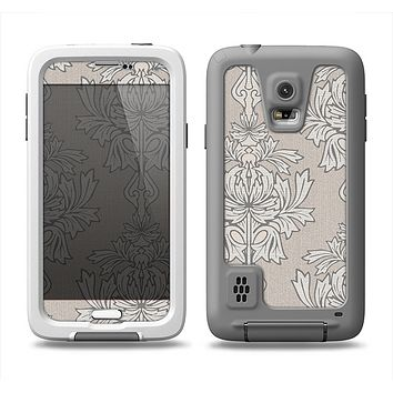 The Seamless Tan Floral Pattern Samsung Galaxy S5 LifeProof Fre Case Skin Set