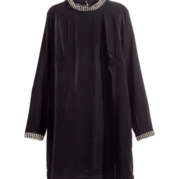 H&M - Velvet Dress - Black - Ladies