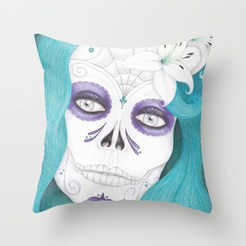 Dia De Los Muertos - Lily Throw Pillow by drawingsbylam