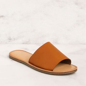Barbara Vegan Dark Tan Slide Sandals