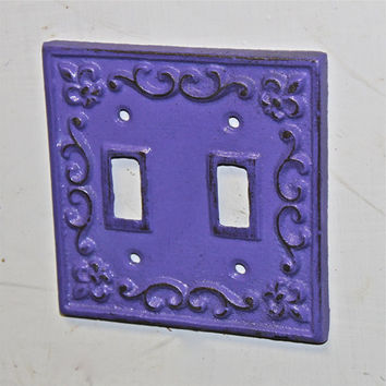 Purple Decorative Light Switch Plate/ Double by AquaXpressions