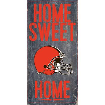 """Cleveland Browns Wood Sign Home Sweet Home 6""""x12"""""""