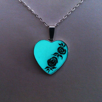 Aqua Glowing Necklace, Glowing Jewelry,  Glow in the Dark Heart, Glowing Pendant, Gift for Her, hand painted OOAK