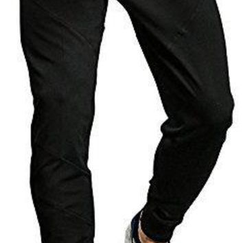 TBMPOY Men's Athletic Running Sport Jogger Pants With Zipper Pockets(Black,us M)