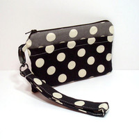 Polka Dot Clutch, Brown Polka Dots, Gray Dots Bag, Fall Clutch Purse, Cell Phone Wallet, iPhone Wristlet, Brown Clutch Bag, Phone Zipper Bag