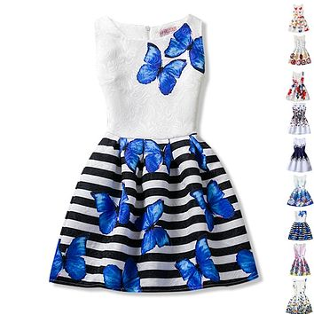 Baby Girls Dresses Flower Floral Print Kids Party Dress Teenage Girl Clothing Princess Christmas Kids Dresses For Girls Clothes