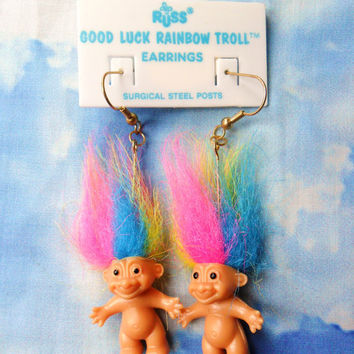 Vintage Retro 80s 90s Russ Troll Doll Good Luck Rainbow Earrings