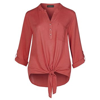 LE3NO Womens Casual Button Down Blouse Top With Front Self Tie And 3/4 Roll Up Sleeves