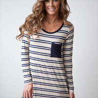 Wooden Button Back Long Sleeve Striped Dress - Oatmeal/Navy