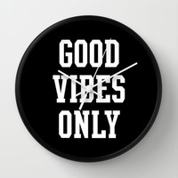 Good Vibes Only Wall Clock by Deadly Designer