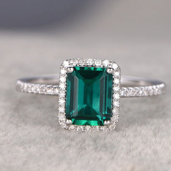 6x8mm Emerald Engagement ring White gold,.23ct Diamond wedding band,14k,Emerelad Cut Treated Emerald,Green Gemstone Promise Ring,Bridal