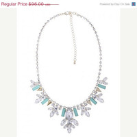 ON SALE Turquoise Mint and rhinestone Statement Prong Set  Crystal Necklace- Art Deco Vintage