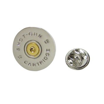 Gold and Silver Toned Shot Gun Shell Design Lapel Pin