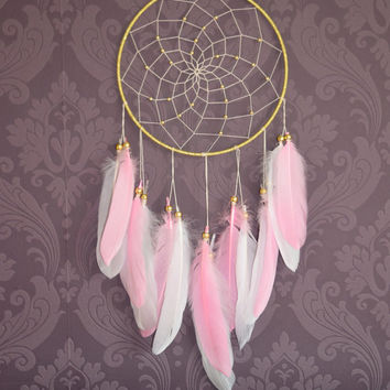 Pink and White Dreamcatcher, Boho Wall Hanging Decor, Boho Dream catcher Nursery Decor,