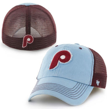 Philadelphia Phillies '47 Brand Taylor Cooperstown Collection Closer Flex Hat – Maroon/Light Blue