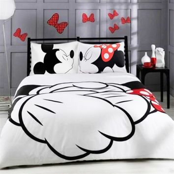 HOT! Mickey Mouse Cartoon Bedding Set Kids Favorite Home Textiles Plain Printed Stylish Bedclothes Single Double Queen Size