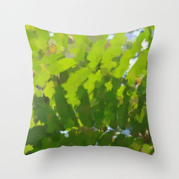 "Throw Pillow with Abstract Green Tropical Jungle Print in sizes 16""x 16"", 18""x18"" or 20""X20"", Indoor and Outdoor fabric."
