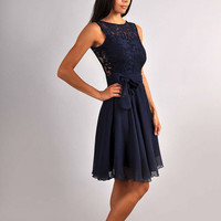 Bridesmaid Navy Blue Dress.Navy blue wedding.Sleeveless Dress Lace.Evening Gown Formal .